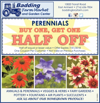 Perennials Buy One, Get One Half Off