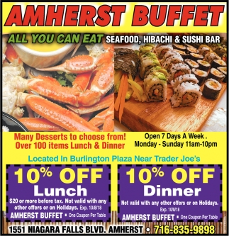 All You Can Eat Seafood Hibachi And Sushi Bar Amherst Buffet