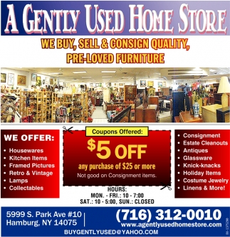 We Buy, Sell And Consign Quality, Pre-Loved Furniture, A Gently Used ...