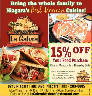 Bring The Whole Family To Niagara's Best Mexican Cuisine!