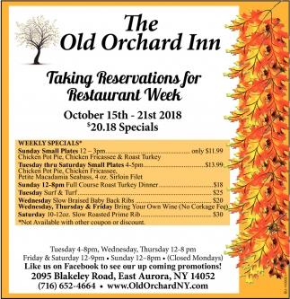 Taking Reservations For Restaurant Week