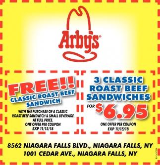 FREE!! Classic Roast Beef Sandwich
