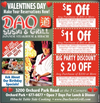 Valentines Day, Make Your Reservations Now!