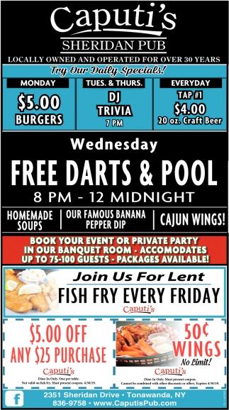 Wednesday Free Darts & Pool