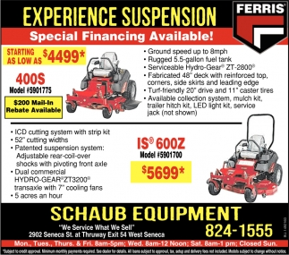Special Financing Available!, Schaub Equipment, West Seneca, NY