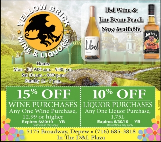 15% Off Wine Purchases
