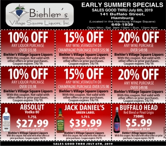 Early Summer Specials