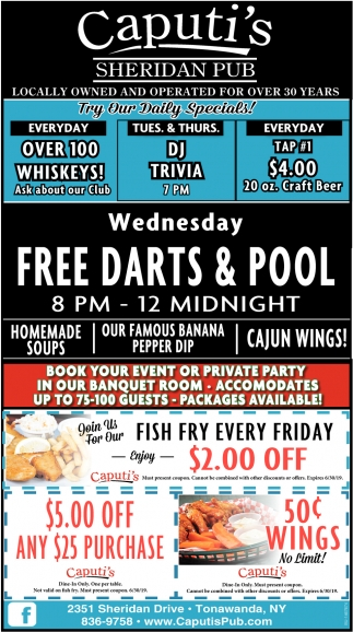 Free Darts & Pool