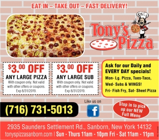 Eat In - Take Out - Fast Delivery!