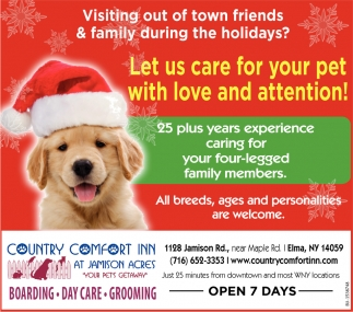 Let Us Care For Your Pet With Love And Attention!