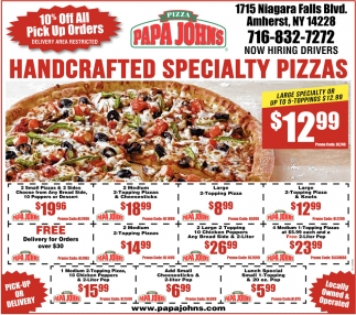 Handcrafted Specialty Pizzas