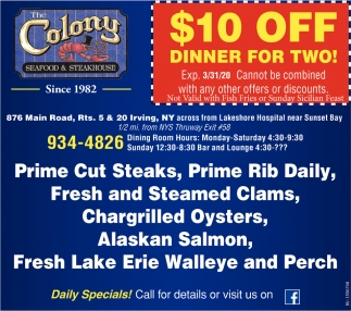 $10 Off Dinner For Two!