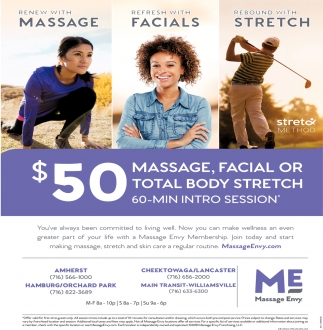 $50 Massage, Facial Or Total Body Stretch