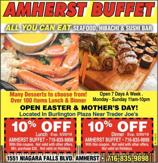 All You Can Eat Seafood Hibachi And Sushi Bar Amherst Buffet Ny