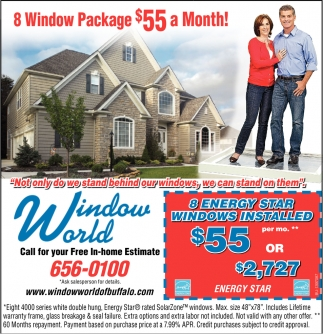 8 Window Package $55 A Month!