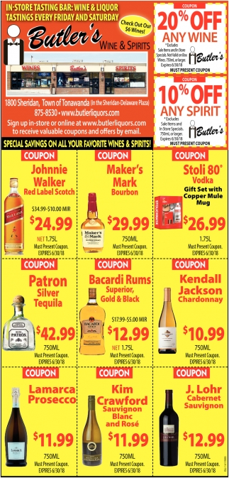 Special Savings On All Your Favorite Wines And Spirits!
